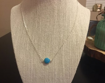 Turquoise bezel pendant necklace/bezel pendant necklace/sterling silver turquoise bezel necklace