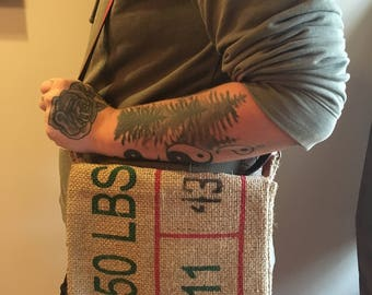Burlap Bucket Messenger Bag w/ Adjustable Strap