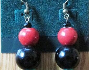 Red, Black, & Green Beaded Earrings