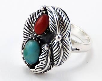 Sterling Silver Turquoise Coral Native American Ring Sizes 5.5 - 10 Free Shipping
