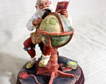 Santa Figurine studies globe, Marlo Yuletide Collection