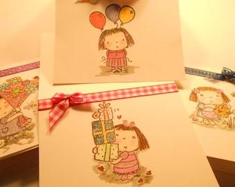 "4 Card Set - Whimsical and Fun - Handmade - 4 -1/2"" x 4 1/4"" Cards -"