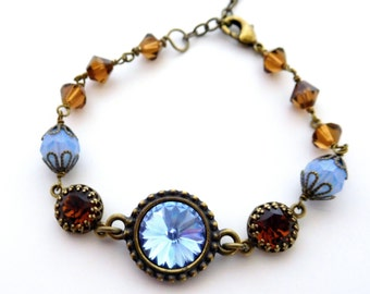 Blue and brown crystal bracelet, set rhinestones, antiqued brass wire-wrapped beads, all Austrian crystal, unique colors set crystal jewelry