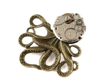 Clockpunk Octopus - Steampunk Octopus Pin - Monster Octopus Pin  - The Brainiacs Octopus Vintage Watch Pin