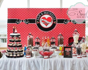 """Rockabilly red and black Wedding or Party printable Backdrop 72"""" x 36""""  - you print"""