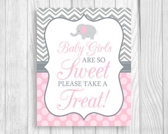 Baby Girls Are So Sweet Please Take A Treat 8x10 Printable Elephant Baby Shower Candy Buffet Sign in Gray Chevron and Light Pink Polka Dots