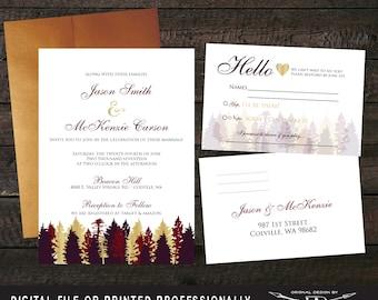 Marsala Wedding Invitation SET   Rustic Wedding Invitation   Printed Invite   Marsala Wedding Invitation   Fall Tree Wedding Invites