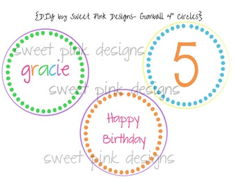 "Printable 4"" Circles- Gumball Party Collection"