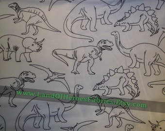 A Very Fun Flannel Fabric Covered with Everyone's Favorite Dinosaurs: T-Rex, Brontosaurus and MORE!  - By the Fat Quarter, Half-Yard or Yard