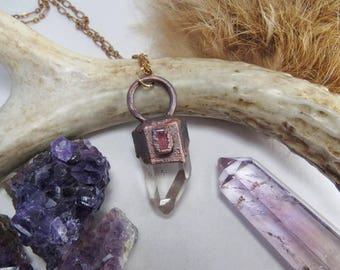 Quartz Pink Tourmaline Copper Pendant. Electroformed Crystal Point Jewelry.