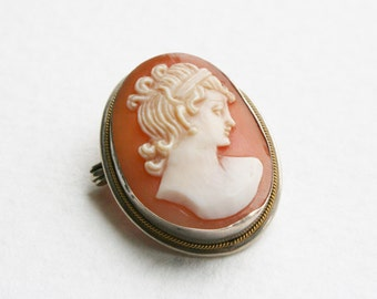 Vintage Cameo Brooch Sterling Silver Carved Shell Jane Austen