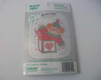 Stamped Cross Stitch Bib Kit, Sealed Vintage Baby Bib Jack in the Box, Neat & Nifty Quilted Bib Kit Craft Project