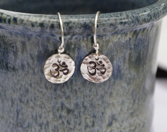 Om Sterling Silver Earrings Recycled Sterling Silver Hand Stamped and Hammered Handmade French Wires