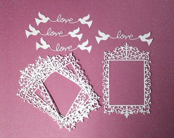 4 Frames And 4 Love Titles/Die Cuts/Embellishments/Paper Cuts/Scrapbooking/Card Making