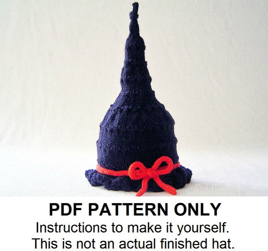 Knitting Pattern - Baby Witch Hat Pattern - the GLINDA Hat (Newborn ...