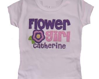 Personalized Flower Girl Shirt, Embroidered Flower Girl Shirt, Monogrammed Flower Girl Shirt, Appliquéd Flower Girl Shirt