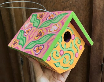 """Birdhouse Indoor-Outdoor Handpainted """"Pink Art Nouveau"""""""