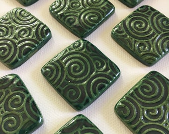 10 Handcrafted Green Ceramic Square Tiles That Can Be Used In Mosaic And Other Mixed Media Projects