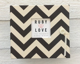 BABY BOOK | Chocolate Brown Chevron Stripe Album