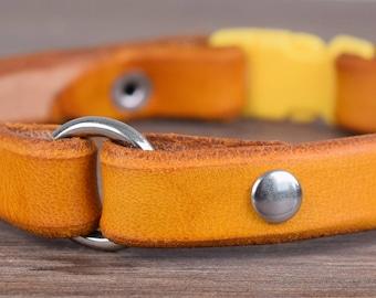 Yellow Breakaway Leather Dog Tag Collar - Greyhound Tag Collar - Whippet Tag Collar - Sighthound Tag Collar - Safe Break Away Collar