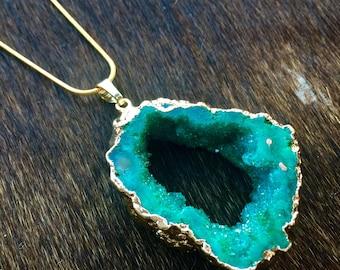 Green Druzy Geode Slice Necklace