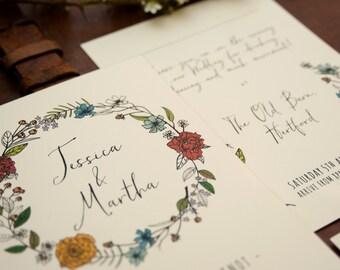 Summer Flora & Fauna Hand Drawn Wedding Invitations + Information Card