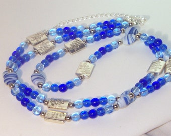Multiple Shades of Blue Crystal and Silver Necklace