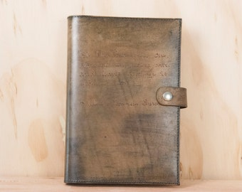 Personalized Leather Journal - Handmade in the Smokey pattern with custom inscription - Antique Brown