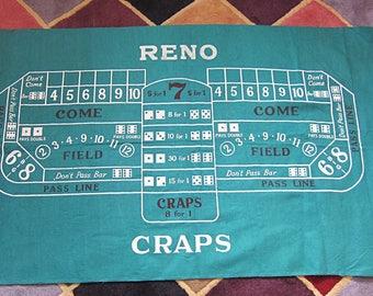 Reno Black Jack & Craps Reversible Felt Game Surface / Nevada, Gambling, Card Games, Las Vegas Wall Hanging