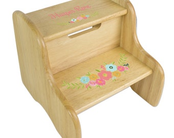 Personalized Spring Floral Natural Two Step Stool
