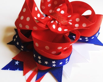 Red, White, and Blue hair bow