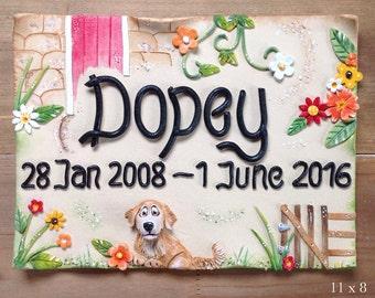 Pet Memorial Plaque - Ceramic Stoneware Sign Custom made and personalised