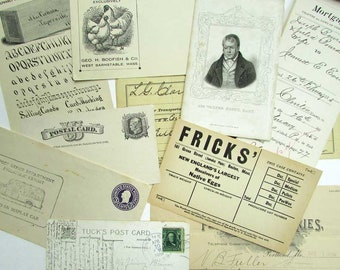 Vintage  Paper Ephemera Lot, 1880's to 1940's, Vintage Envelopes, Receipts, Cards, Handwriting, Collage Papers, Scrapbooks, 12 Items