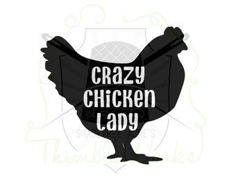 Crazy Chicken Lady Vinyl Decal