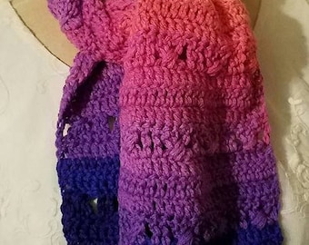 Ready to Ship--Crochet Stripes Scarf--Flamenco--Purple, Pink, Orange--Sunset