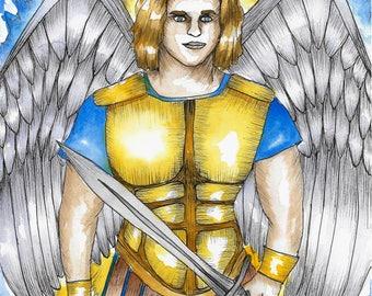 Archangel Michael Art Print Angel Art Archangel Art Spiritual Art Fantasy Art Mythology Sacred Art Angel Art Print Angels Divine Art