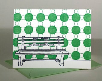 Baltimore Letterpress Card | Greatest City in America Bench | navy & green single blank card with envelope