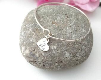 I heart You Bangle Bracelet - Sterling Silver - Inspiring Birthday Gift for Her - Mother's Day Gift for Mom