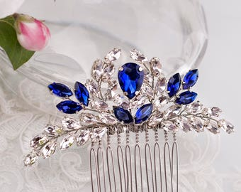 Blue Bridal hair comb Something Blue hair comb Navy blue Wedding Hair accessory Rhinestone hair comb Sapphire blue Crystal hair comb