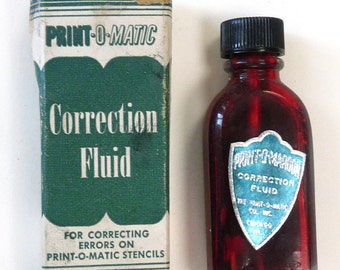 Print O Matic Correction Fluid bottle box vintage advertising office desk typewriter collectible Chicago IL retro