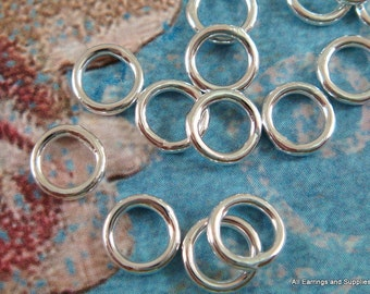 50 - 8mm Soldered Jump Ring Closed Jumprings Silver Plated Brass 8mm 18 Gauge 8mm Outside - 50 pc - 5835-5