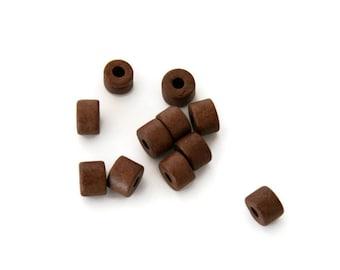 Brown Mykonos Greek Ceramic Beads, Brown Ceramic Tubes,  Mykonos Ceramic Beads, Spacer beads 8x6mm C 10 150