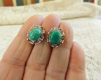 Faux Turquoise Earrings, Vintage Turquoise Earrings, Silver Filigree Earrings, 1950's Earrings, 1950's Jewelry