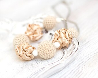 Beige sand fabric and crochet beads necklace, textile necklace, textile jewelry, Statement Necklace, Unique Gift for Her
