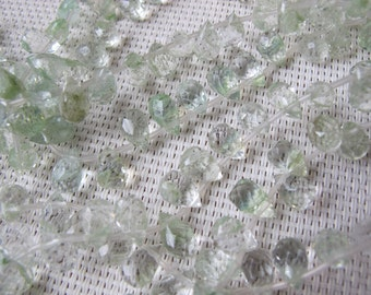 6x9mm Green Moss Agate Faceted Teardrop Bead S18