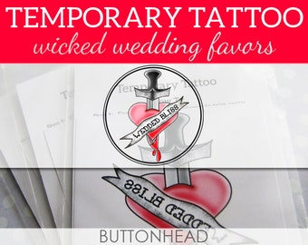 Rock N Roll Wedding Favors - Psychobilly Punk Alternative Heavy Metal Wedding Favors - Set of 12 Temporary Tattoos
