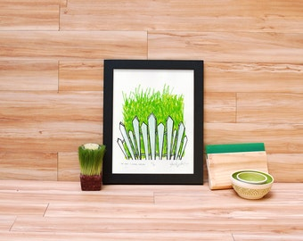 The Grass is Always Greener - Grass and Fence Screenprint