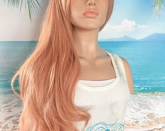 Rose Gold Wig, Pastel Wig, Synthetic Wig, Lace Front Wig, Heat Resistant Wig, Mermaid Hair, Cosplay Hair, Long Wig, Wavy Wig