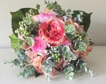 Boho Bouquet, Silk Flower Bouquet, Peony Bouquet, Eucalyptus Bouquet, Bridesmaid Bouquet, Pink Bouquet, Peach Bouquet, Greenery Bouquet