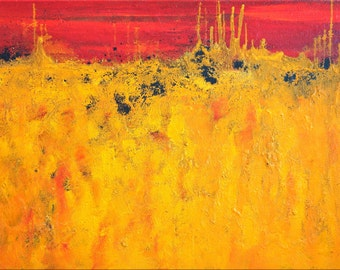 "Abstract XXL 31 x 47"" inch red yellow orange black heavy texture"